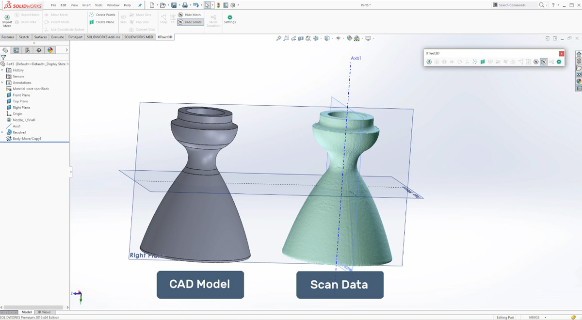 Scan and CAD model