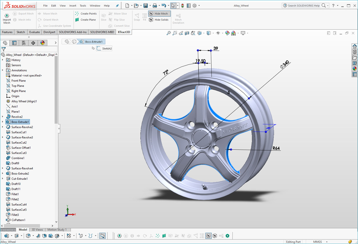 XTract3D Add-in for SOLIDWORKS: Scan-to-CAD Tool